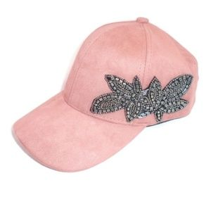Dusty Pink Suede Beaded Floral Hat NWT Cap Jewel